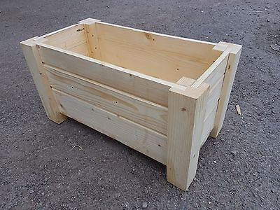 Wooden Rectangular Pot, Set of Two,  59 cm Long of Solid Wood, - Unpainted