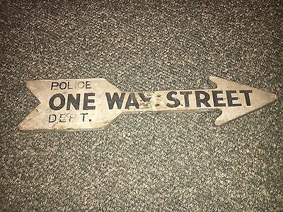 Vintage Antique Wooden One Way Street Sign Arrow