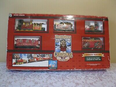 Christmas tree train set, animated elf 10 ft. track complete/working 9 pictures