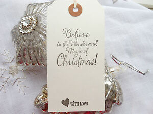 10 White  Believe in the Magic  Christmas Gift Tags Handmade Vintage Style