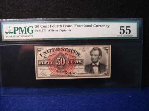 FR-1374 50 CENT Fourth Issue FRACTIONAL Lincoln PMG 55 About Uncirculated