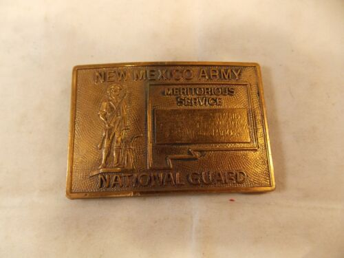 New Mexico Army National Guard Meritorious Service Brass Belt Buckle