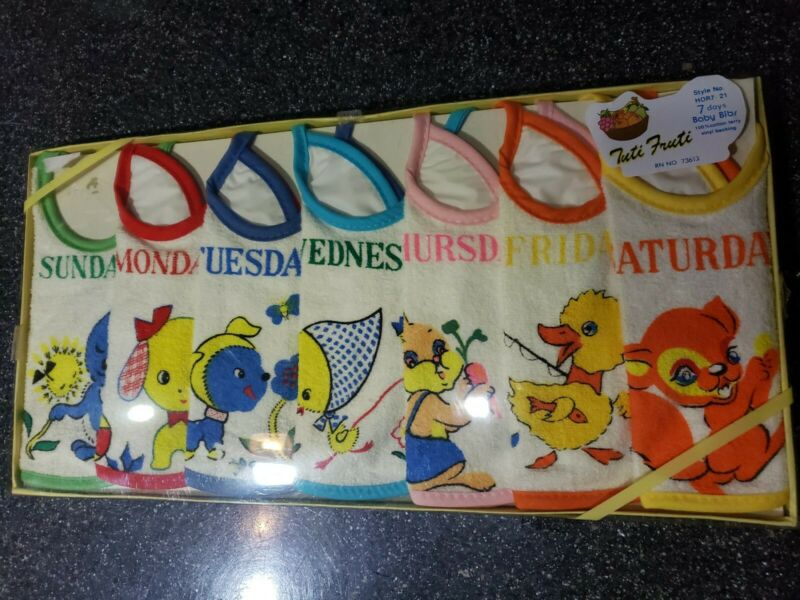 Vintage Tuti Fruti Baby Bibs Package 7 Days New NOS ~Adorable