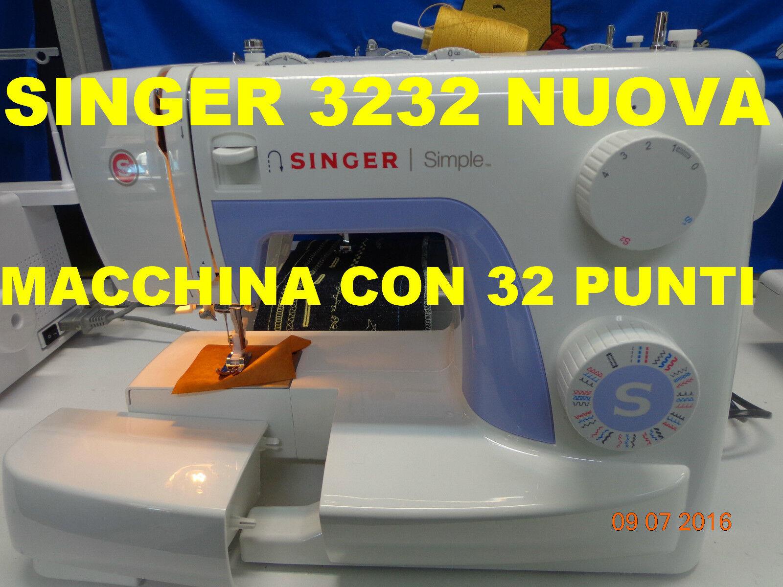 MACCHINE MACCHINA DA PER CUCIRE SINGER 3232  NUOVA-INFILA AGO AUTOMATICO, OMAGGI