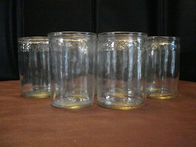 "Set of 10 Short Glasses/Jars Stars Around the Top, 4"" x 2 3/4"""