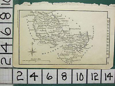 c1833 GEORGIAN MAP ~ DENBIGHSHIRE WREXHAM DENBIGH LANRWST TYNANT