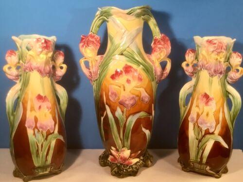 Antique Majolica Art Nouveau Trio of Iris Vases C.1800