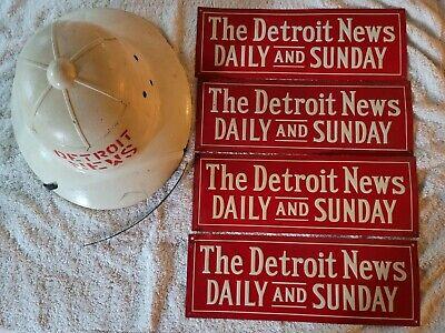 Vintage The Detroit News metal tin newspaper sign & pith helmet hard hat 4 signs