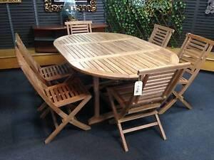EXTENDABLE 6-SEATER TEAK OUTDOOR DINING TABLE SET Frankston Frankston Area Preview