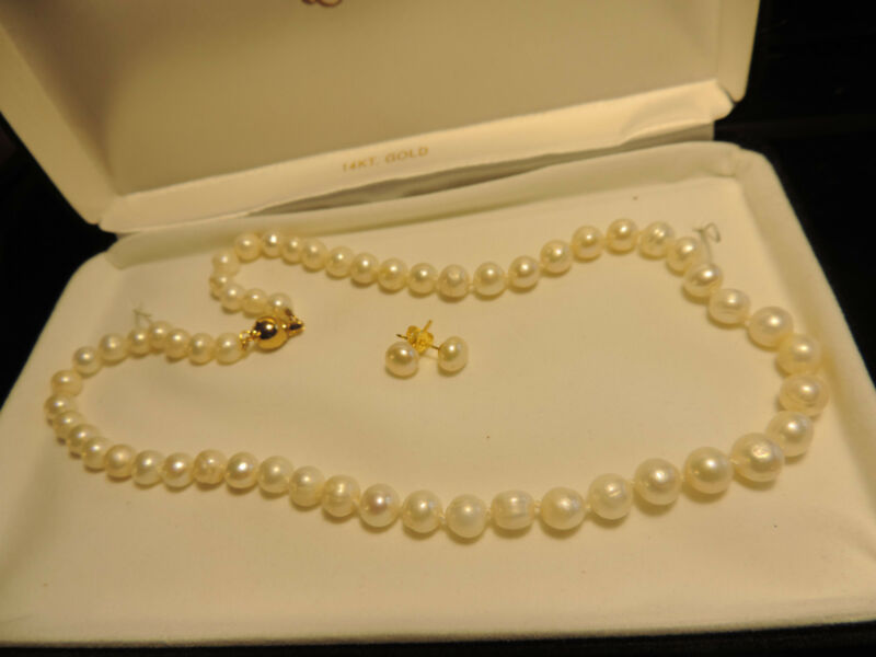 "PEARLS SET 18K Gold Plated 8MM White Akoya Pearl 18"" BLACK FRIDAY DEAL 6016"