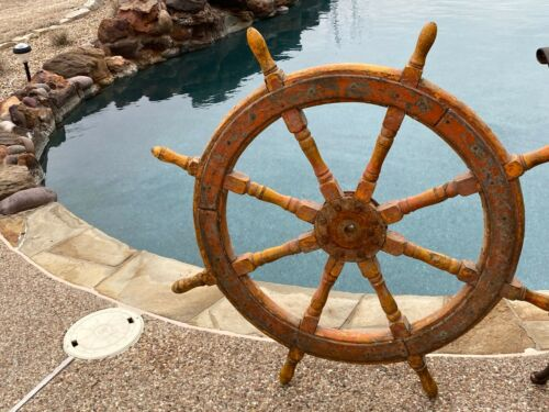 Antique 19th  Century Wood SHIPS STEERING WHEEL Nautical Marine Beach decor