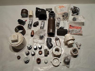 Lot Of 39 Plumbing Fittings New Used Metal Plastic Good Mix
