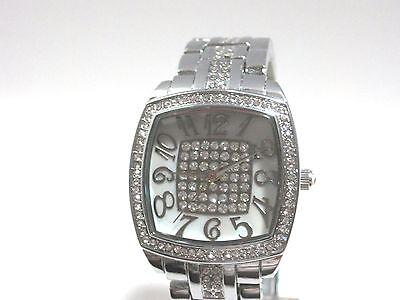 Victoria Wieck Pavé Crystal Bracelet Watch  Silvertone