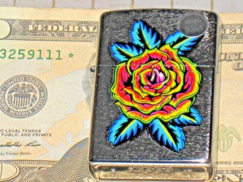 New Windproof ZIPPO USA LIGHTER 29399 Blooming Rose Flower Tattoo St Chrome Case