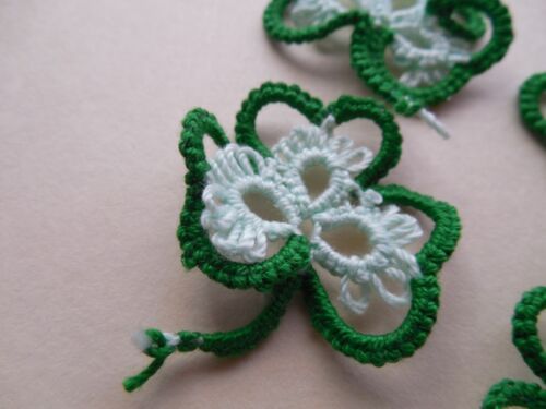 DOVE COUNTRY Tatting 21 Shuttle Tatted Shamrocks New Unique Green & Mint