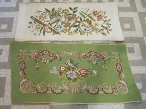 2 Vintage needlepoint bench seat covers flowers & muscial instruments
