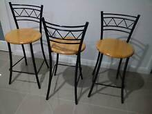 Bar Stools, 3, Metal Frame, Timber Seat, Heavy Duty Pitt Town Hawkesbury Area Preview