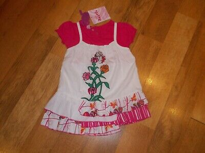 BeetleJuice Baby Girls Butterfly Kisses Dress & Tee Set.  sz. 12m  NWT Butterfly Tee-set