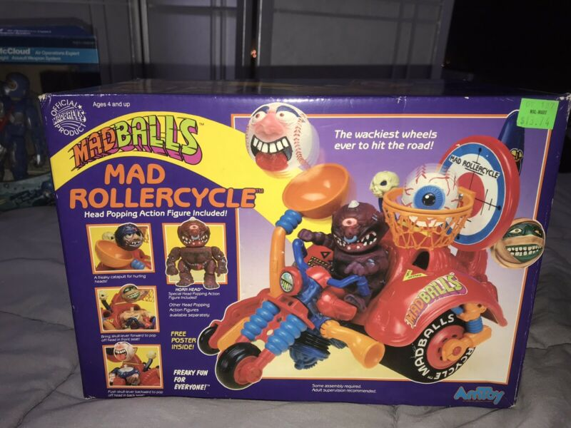 Madballs Mad Motorcycle Complete w Box & Poster & Horn Head Action Figure Balls