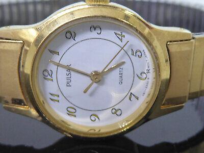Vintage Pulsar Wrist Watch White Face Gold Color Stretch Band Wristwatch Face Color White Band