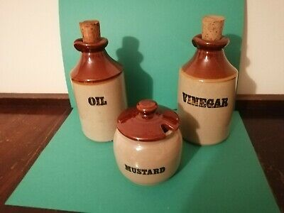 Stoneware Trio, Mustard Pot, Oil And Vinegar Bottles