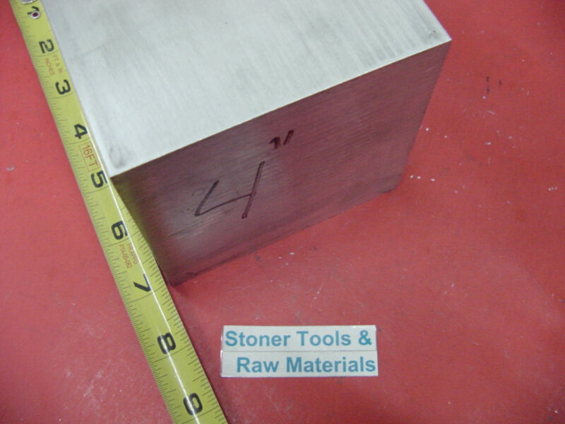 "4"" X 4"" ALUMINUM 6061 SQUARE SOLID BAR 7"" long T6511 Flat New Mill Stock"