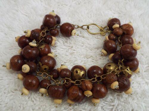 Wood Bead Chain Bracelet (A36)