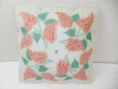 """Mid Century Retro Glass Ceiling Light Shade Defuse Frosted Large 13"""" Floral Rare"""