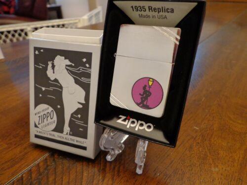 PURPLE REVELER DRUNK 1935 OUTSIDE HINGE ZIPPO LIGHTER MINT IN BOX