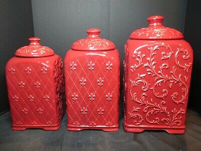 Drake Design Burgundy Berry Red Large 3 Piece Canister Set Secure Tight Lids