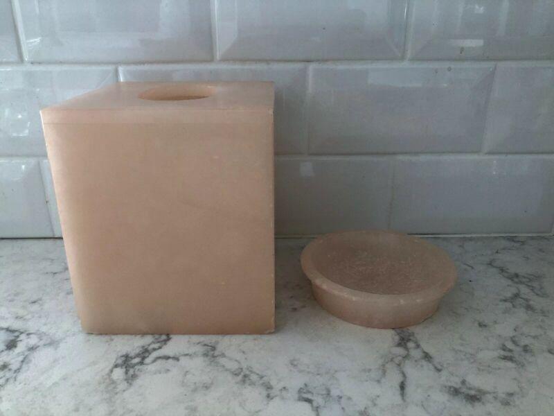 Alabaster Tissue Holder And Soap Dish