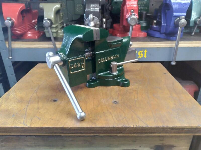 RESTORED VINTAGE COLUMBIAN 63 1/2 SMOOTHJAW BENCH VISE USA 3 1/2 JAWS 12 LBS
