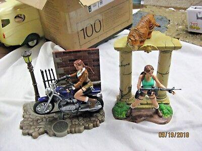 Lara Croft Tomb Raider Diorama Display Playmates figures w/tiger and motorcycle