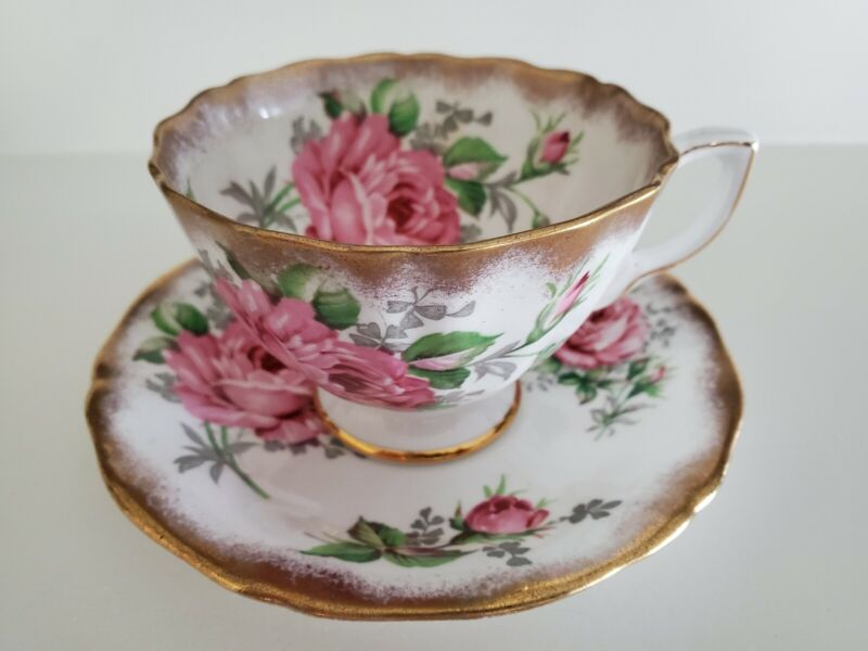 ADDERLEY FINE BONE CHINA TEACUP AND SAUCER CABBAGE ROSE AND GOLD