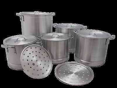 5 pc Thick Aluminum Stock Pot Set Steam Tamale Brew 20 24 32 40 52 quart NOTE* 20 Quart Stock Pot