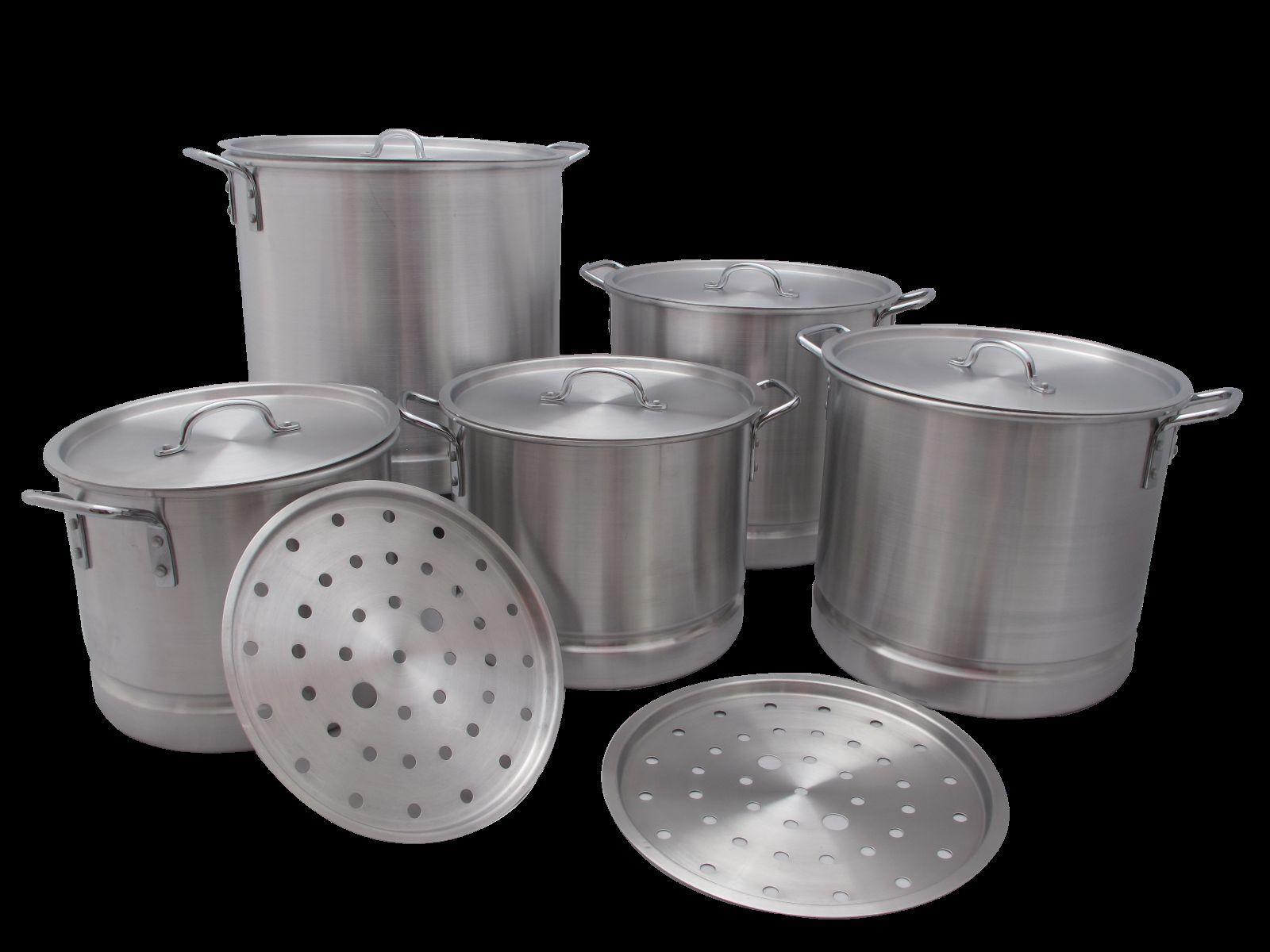 5 pc Thick Aluminum Stock Pot Set Steam Tamale Brew 20 24 32