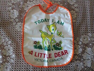 Vintage  Plastic Vinyl Baby Souvenir Bib Victoria Canada Reversible Deer (Reversible Baby Bib)