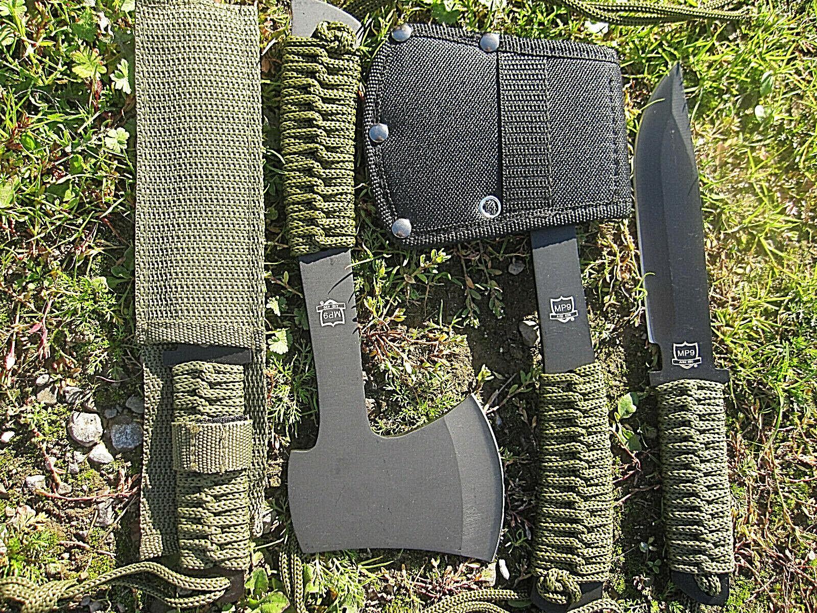 2 in 1 Beil mit Messer Gürtelmesser Outdoorset Axt Paracord Survival BW Camping