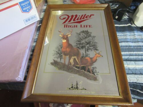 MILLER BEER SIGN MIRROR WILDLIFE COLLECTION WISCONSIN WHITE TAIL DEER BAR PUB