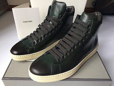 TOM FORD Women's Green Flat High Top Leather Sneakers Gr. 38 UK 5 US 8 NEU OVP Neue Womens Flat