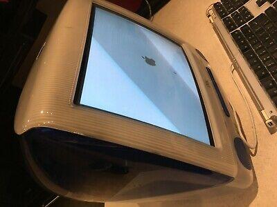 Vintage Apple iMac Blue (Indigo) G3-500 with keyboard, mouse + original box