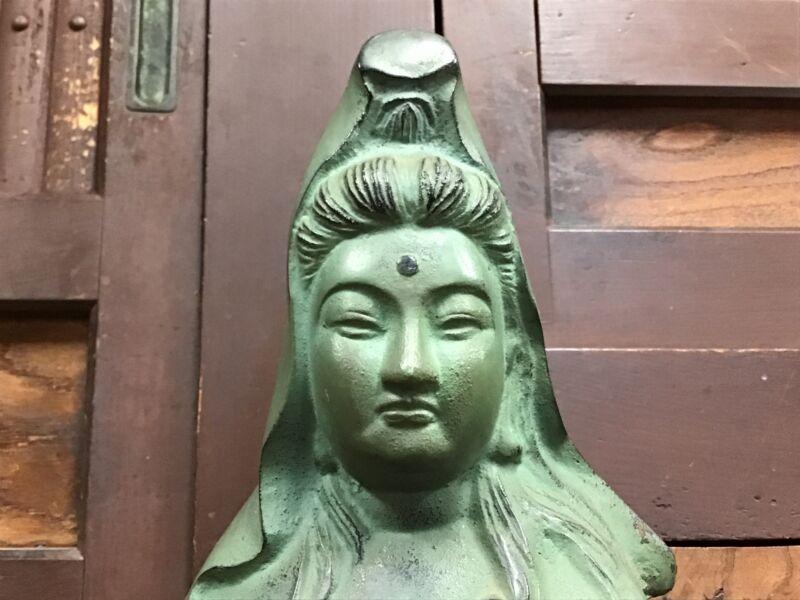 Y1065 STATUE Kannon goddess of mercy figure signed Japanese vintage antique