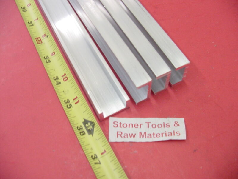 """4 Pieces 1""""x 1/2"""" ALUMINUM CHANNEL 6063 X 1/8"""" Wall 36"""" long T52 Mill Stock 12"""