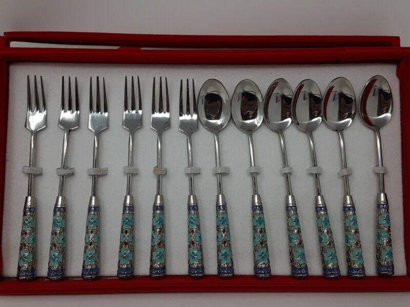 Vintage Seoul Korea Cloisonne Appitizer/Cocktail Spoon and Fork Set 12 Pieces