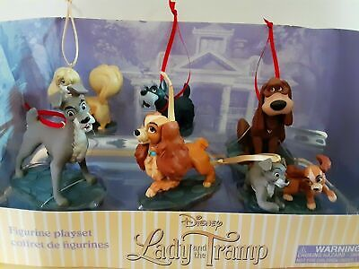DISNEY LADY AND THE TRAMP CHRISTMAS ORNAMENTS FIGURINES 6pc EXCLUSIVE AUTH DSNY