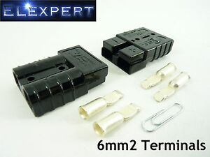 ANDERSON-PLUG-50-AMP-BATTERY-CONNECTOR-JUMP-START-SLAVE-ASSIST-X2-BLACK-6MM2