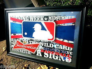 BUDWEISER BEER MLB BASEBALL LOGO BEER BAR PUB MIRROR SIGN BRAND NEW 2014 SEASON