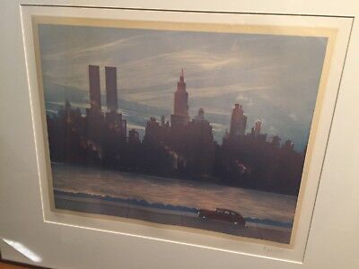NO RESERVE......WPA STYLE NYC SKYLINE WORLD TRADE CENTER PENCIL SIGNED & TITLE