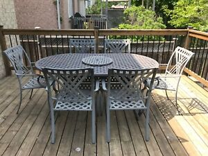 Outdoor patio dining set / table and six chairs