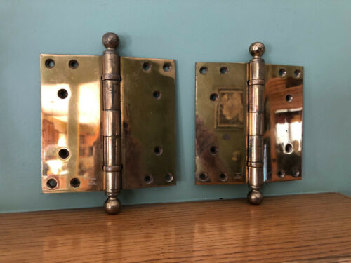 "Lot of 2 Antique Large Heavy Duty Brass Stanley Sweetheart 7"" X 7"" Hinges 1913"